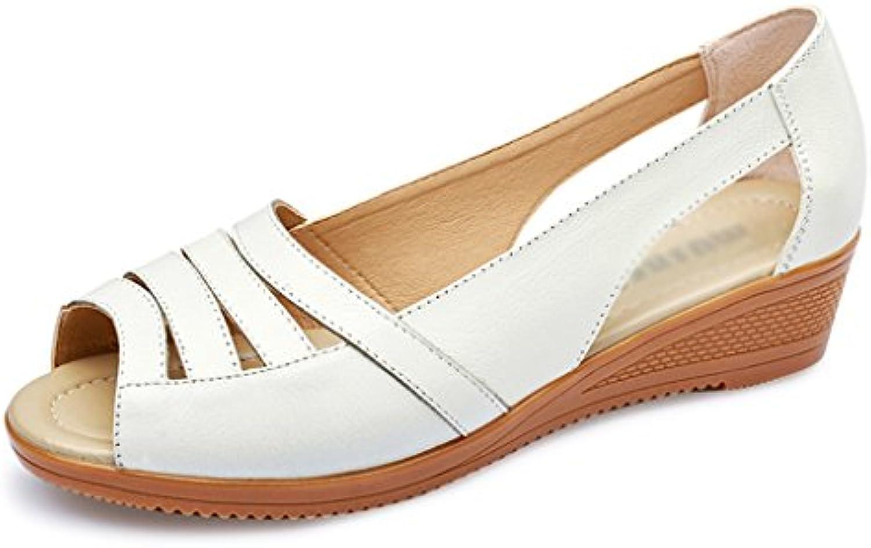 Geox D Marykarmen Plus B, Sandalias con Plataforma Plana para Mujer 36.5 EU|Blanco (White)