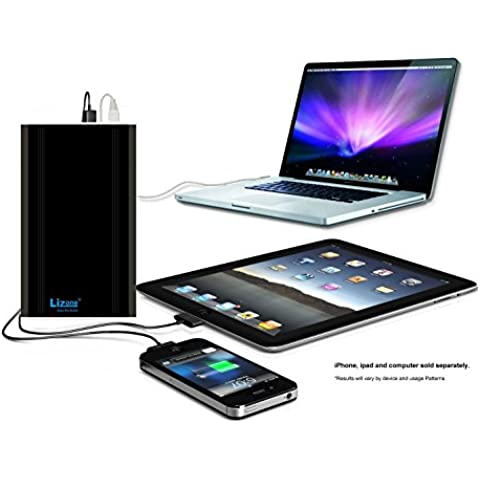 Lizone® Extra Pro 60000mAh súper capacidad Power Bank Batería Externa Cargador Portátil para Apple MacBook, Notebooks Dell, HP, Lenovo,IBM,tabletas,Móviles,Samsung iphone Smartphones y Más -Aluminio UniBody- Negro