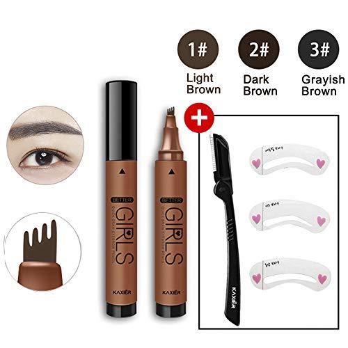 Kit de stylo de tatouage de sourcil avec le rasoir de sourcil et l'ensemble de maquillage de 3 pochoirs de sourcil, outils de kit de mise en forme du sourcil anti-taches de longue durée (Light brown)