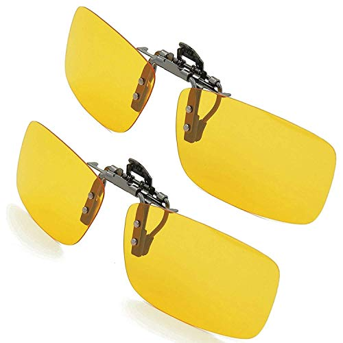 SPLAKS Sonnenbrille Aufsatz 2-Stück Clip on Plarisiert Sonnenbrille Flip polarisiert gegen Licht ideal für Nachts Fahren Unisex Frauen und Männer Brillenträger (2 Gelb)