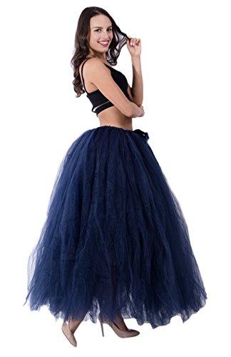 (URVIP Damen's Rock Tutu Tuturock Tütü Petticoat Tüllrock mit Gummizug für Karneval, Party und Hochzeit Navy One Size)