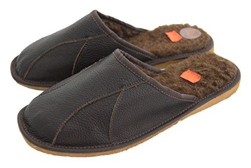 Mens pelle naturale e rivestimento sul Sheep's-Pantofole da donna in lana Nero (Brown / brown wool)