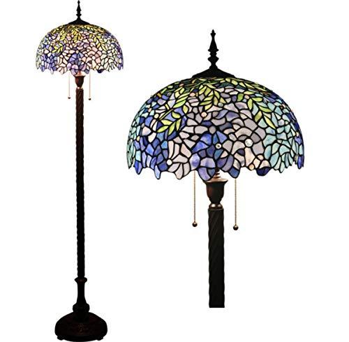 GDLight Tiffany-Stil Stehlampe 63 Zoll hoch lila Lavendel Glasmalerei Lesestehlampe 2 Licht für Schlafzimmer Wohnzimmer - Lila Glasmalerei
