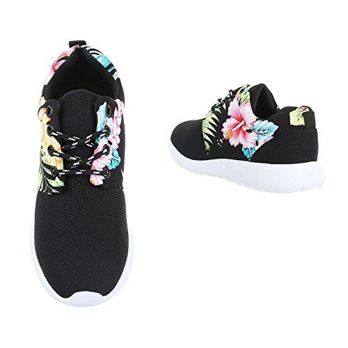 Ital-Design, Sneaker donna Schwarz Multi B2316-DB
