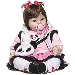 Poupée de Simulation,Poupée Bébé Reborn en Silicone Bébé Poupée Yeux Ouverts avec des Vêtements Cheveux,Réaliste Mignon Cadeaux Jouet Fille