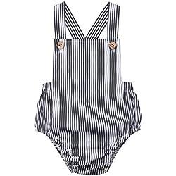 CHRONSTYLE Nouveau-né Bébé Fille/Garçon Barboteuse, Toddler Bébé Combinaison Jumpsuit pour l'été Sling Romper (6-12 Mois, Rayé)