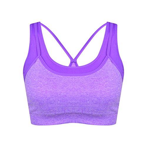 WKAIJCC 3Pack Femme Sous-vêtements Sports Soutien-gorge Choc Fitness Yoga Beauté Arrière Respirant élégant Sauvage Sans Trace Sans Acier B