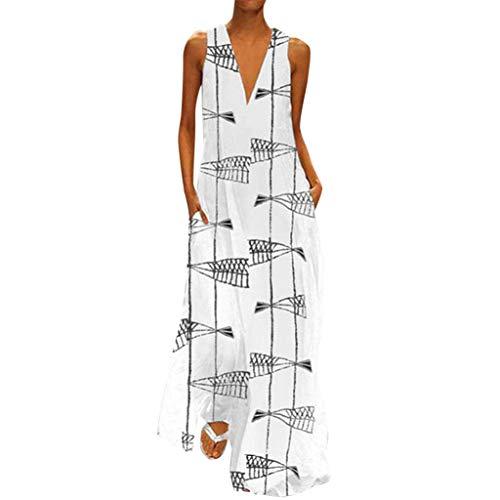 MAYOGO Kleid Damen Sommer Lang Elegant Schick Große Größen Ärmellose Maxikleid Schmetterling Muster Casual Cool Leichte Kleider mit Tasche S-5XL Chiffon Tie Dye Tie