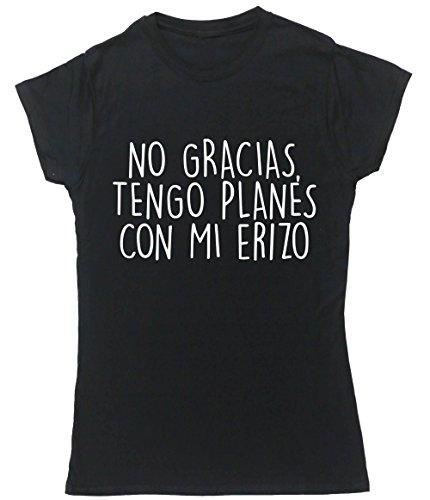 HippoWarehouse No Gracias, Tengo Planes Con Mi Erizo camiseta manga corta ajustada para mujer