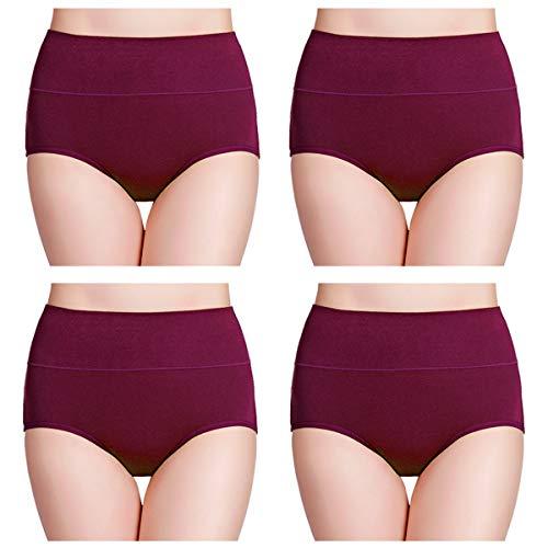 wirarpa Unterhosen Damen Taillenslip High Waist Slip Baumwolle Schlüpfer 4er Pack Wochenbett Unterwäsche Tiefrot Größen XL (Damen-unterwäsche Kurze)
