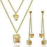 Parure femme boucles d'oreilles et collier dorés en OR 18K et Cristaux Swarovski ǀ Marque...