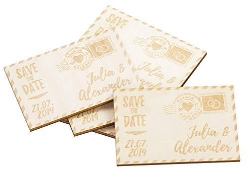 LAUBLUST 80 Personalisierte Einladungskarten zur Hochzeit - Hochzeitspost - Save The Date Karten aus Holz mit Magnet (Holz-save The Date)