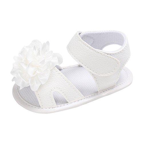 Topgrowth Sandali Bambina Ragazza Scarpe da Neonato Fiore Morbido Anti Scivolo Sneakers Sandals 0-18 Mesi (12, Bianca)