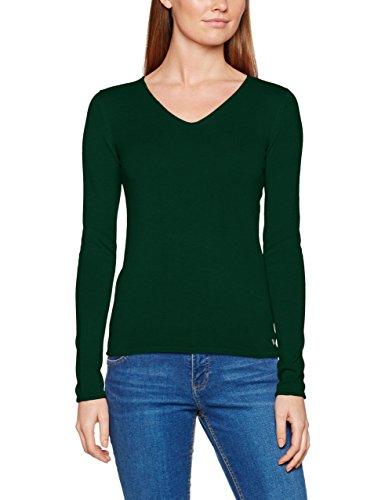 TOM TAILOR Damen Pullover Basic v-Neck Sweater, Grün (Deep Green Lake 7610), 38 (Herstellergröße: M)