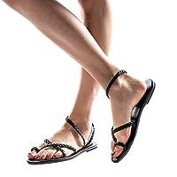 GRIPY Sandals for Women Ladies Spring Summer Woven Flat Heel Slippers Beach Sandals Roman Shoes Dress Sandals Women