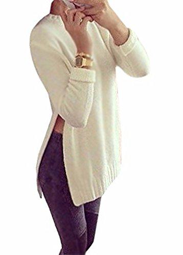 Minetom Damen Die Slit Side Hem Longshirt Bluse Shirt Pulli Weit Geschnitten Langarm Pullover Top Oberteil Weiß 34 (T-shirt Engel Langarm Damen)