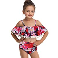 Axong Baby Girl Two Pieces Print Strap Tassel Ruffle Swimsuit Summer Beach Swimwear Clothing 2-6 Years Red