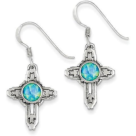 Sterling Argento Anticato Creato Opale Croce Orecchini