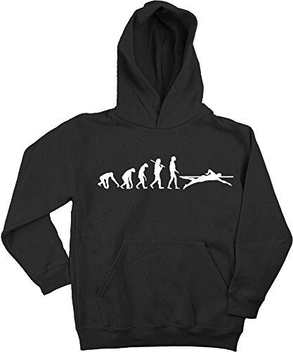 Ma2ca - Evolution Schwimmer Kinder Kapuzensweatshirt Premium Kids Hoodie-black-xxl (Lustige Schwimmer Tshirt)