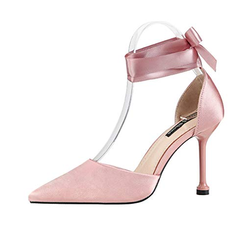YAN Women es High Heels 2019 New Satin Fashion Pointed Pumps Sandals Nightclub Sexy Bow Stiletto Schuhe Red Black Gray Pink,Pink,39 Bow Peep Toe Sandal