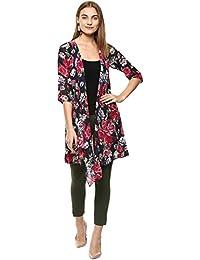 64236832f33499 Roving Mode Women s Georgette Drape Front Waterfall Longline Jacket