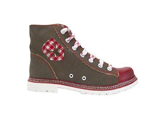 Stiefel Damen Trachten (Canvas Stiefel Jacky rot/braun Vintage Sneaker)