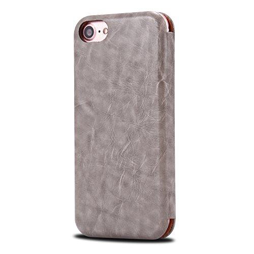 Housse iPhone 6S, SpiritSun Etui en PU Cuir Portefeuille Coque Protection pour Apple iPhone 6 6S (4.7 pouces) Mode Luxe Clair Ultra Slim Couverture Case avec Fonction Support Stand (Rouge) Gris