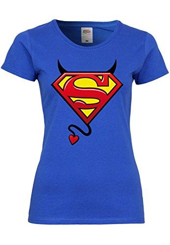M132 F288N Damen T-Shirt mit Motiv Evil Superman, Größe:M;Farbe:Royal (Lycra Kostüme Superman)