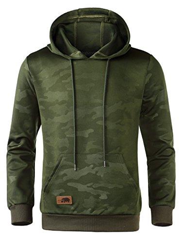 HEMOON Herren Kapuzenpullover Camouflage Hoodie Grün L (Grüner Hoodie Jacke)