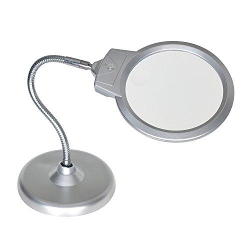 Große Lupe mit Ständer, 2x 5x-Lupe mit 2LED Lampe und Jumbo 14cm Objektiv, Best Hände frei Lupe mit Licht für Hobby, Handwerk, Inspektion, Bücher zu lesen, Modellbau, Löten, etc. (rund) - 5 X Lupe
