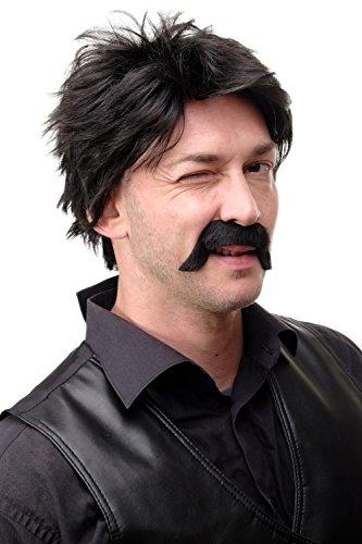 DRESS ME UP - Falscher Bart Schwarz Schurrbart Mustache Preussischer Offizier Mexikanischer Sheriff Viktorianischer Lord Gentleman MM-80