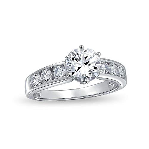 Bling Jewelry 2 Ct Runder Brillant Solitär AAA Cz Zirkonia 6 Prong Channel Set Verlobungsring Band 925 Sterling Silber (Solitär-diamant-ring 2ct)