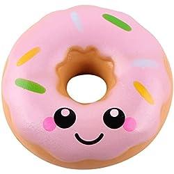 Zolimx Donuts Kawaii Squishy Juguete Alivio de TensióN de Levantamiento Lento Para Niños Adultos (Rosa, 11*11*4cm)