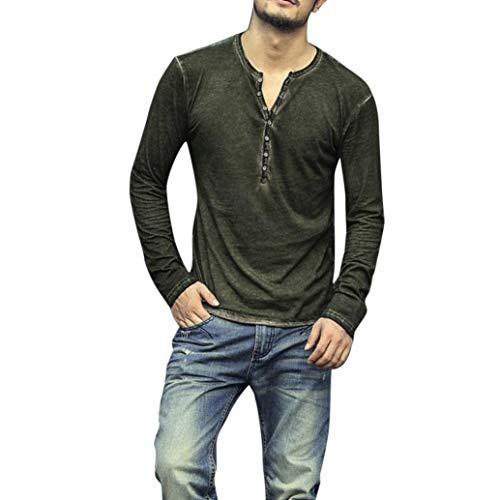 REALIKE Langarm-Hemden Oberteil Casual Basic V-Ausschnitt Einfarbige T-Shirt Retro Classics Slim Fit in Knopfleiste Schwarz Bequem Atmungsaktiv Leicht Viele Farben und Größe -