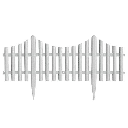 4 Stück Gartenzaun Zierzaun Beeteinfassung Beetabgrenzung Lattenzaun Dekozaun Kunststoffzaun Beetumrandung Zaun 60,5x33cm - Weiß