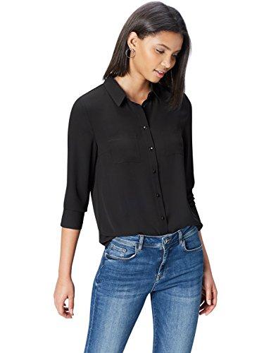 FIND Hemd Damen mit Kragen, Brusttaschen und körpernaher Passform, Schwarz, 38 (Herstellergröße: Medium)
