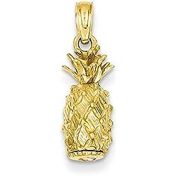 Lex & Lu - Colgante de piña de oro amarillo de 14 quilates