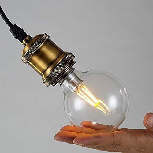 Louvra Lampada a Sospensione Stile Edison Vintage Industriale Lampadario da Soffitto Stile Semplice Attaco E27 di Ottone (lampadina LED G80 inclusa)