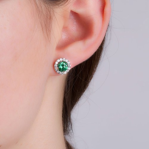 Eternity 2ct Emerald Halo Platinum plated Silver Stud Earrings