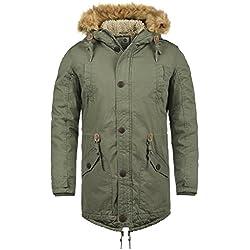 SOLID Clarki Teddy Herren Parka lange Winterjacke mit Fell-Kapuze und Teddy-Futter aus 100% Baumwolle, Größe:M, Farbe:Ivy Green (3797)