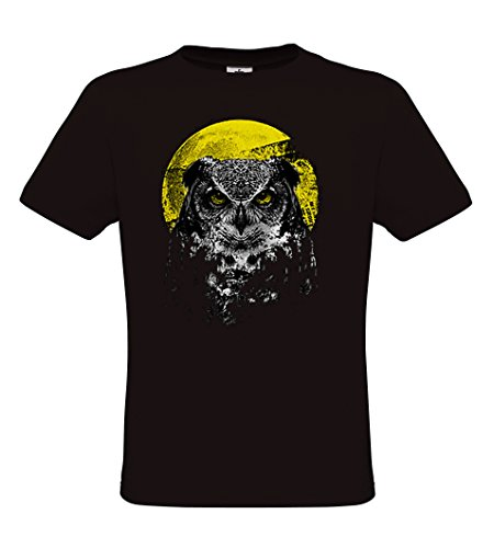 DarkArt-Designs Night Owl - Eulen T-Shirt für Kinder und Erwachsene - Tiermotiv Shirt Wildlife Party&Freizeit Lifestyle regular fit Black