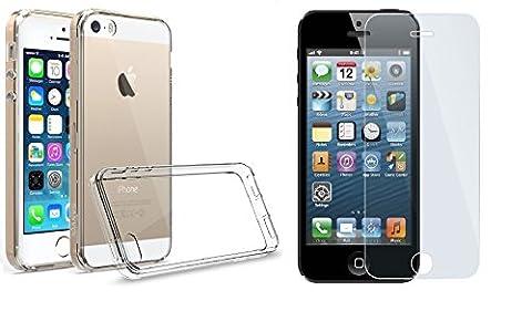 NOVAGO Coque+Film iPhone 5, 5S, SE Coque transparente anti choc+ 1 film en verre trempé 9H ultra résistant