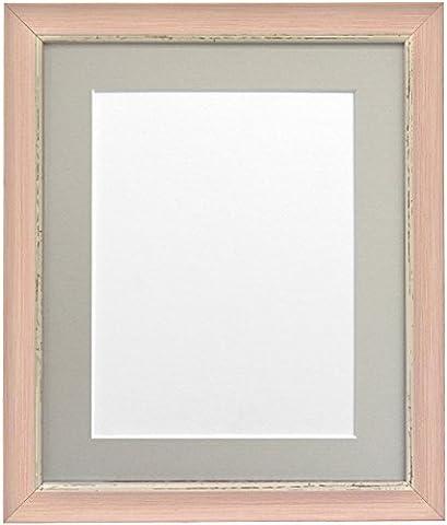 Frames By Post 20 x 16 Zoll Nordic Bild-/Fotorahmen mit Plastikscheibe für A3 großes Bild mit hellgrauem Passepartout, Antique-Look, rosa