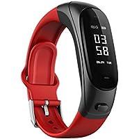 ZfgG Silikon Smart Armband Fitness Tracker Bluetooth Headset Sport Schritt Puls Blutdrucküberwachung Für Android Oder IOS Smartphones Für Männer Frauen Perfekter Wohnassistent (Farbe : Red)