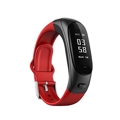 DNSJB Silikon Smart Armband Fitness Tracker Bluetooth Headset Sport Schritt Puls Blutdrucküberwachung Für Android Oder IOS Smartphones Für Männer Frauen (Farbe : Rot) Red Unlocked Smartphone