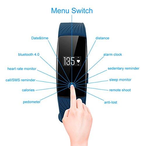 DIGGRO ID107 – Fitness Armband mit Herzfrequenz Sensor (OLED Display, Smart Armband Fitness Tracker mit Pulsmesser Aktivitätstracker Schrittzähler Schlafanalyse Kalorienzähler für ios Android) - 5