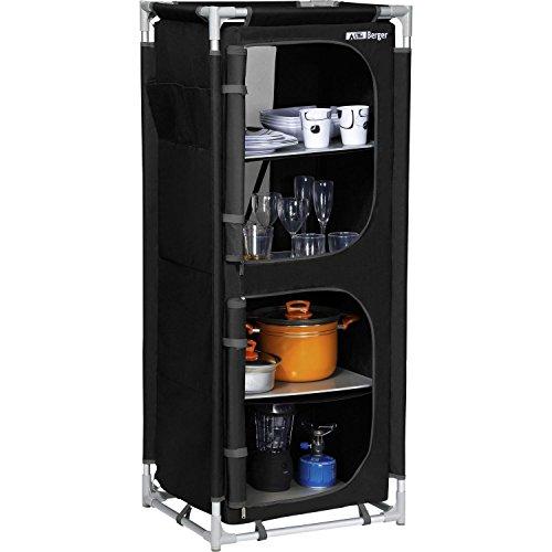 Berger Küchenbox M, schwarz/grau, 4 Staufächer, Alu Campingschrank, Maße B 58 x H 140 x T 47,5 cm, Aufbauschrank