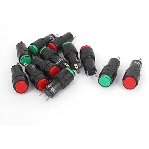 AC 220 V 2P segnale indicatore rosso verde Pilot lampade luci, lampadine 12 pezzi - Segnale Indicatore