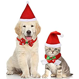 4 Pieces Christmas Pet Hat Scarf Collar Bow Tie for Small Dogs Cats Pet 41oMkAhvQxL