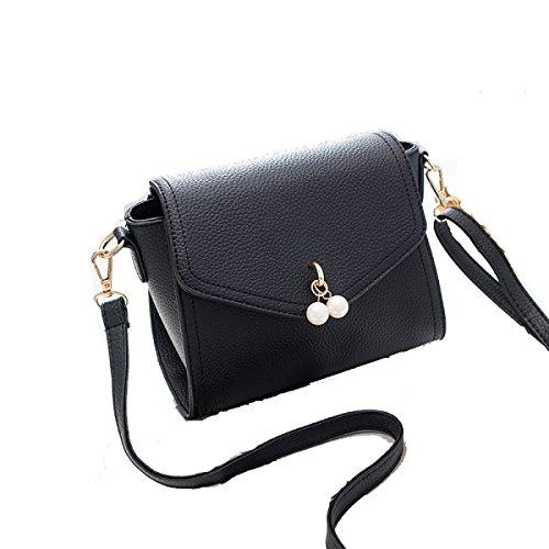 Preisvergleich Produktbild SJLN Damenmode Wilde Umhängetasche Einfache Damen Diagonale Kreuz Paket Mädchen Dating Einkaufen Mobile Handy Ändern Tasche,Black-OneSize